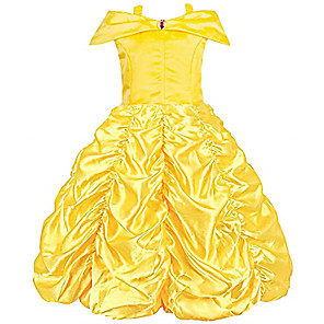 cheap Movie & TV Theme Costumes-Belle Cosplay Costume Flower Girl Dress Kid's Girls' A-Line Slip Dresses Christmas Halloween Carnival Festival / Holiday Tulle Cotton Yellow / Yellow (With Accessories) Carnival Costumes Princess
