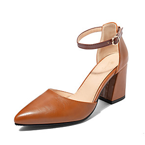 cheap Women's Heels-Women's Heels Chunky Heel Pointed Toe PU Classic / Minimalism Fall / Spring & Summer Light Brown / Pink / Beige