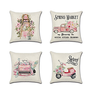 cheap Sale-1pcs Spring Pillowcase Pink Cute Truck Digital Printed Linen