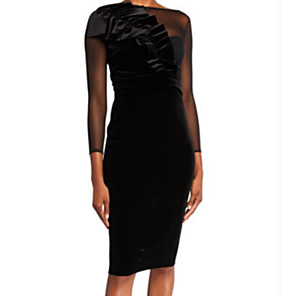 cheap Party Hats-Sheath / Column Elegant Holiday Cocktail Party Dress Jewel Neck 3/4 Length Sleeve Knee Length Tulle Velvet with Ruched Appliques 2020