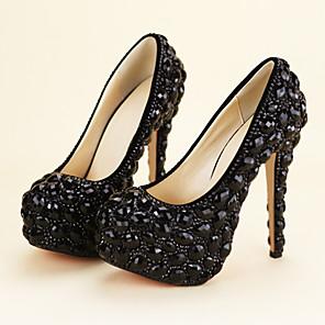 cheap Women's Heels-Women's Heels Stiletto Heel Round Toe Rhinestone / Crystal PU Vintage / Minimalism Fall & Winter Black / Wedding / Party & Evening