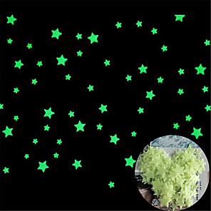 cheap Wall Stickers-200Pc  3D Star and Moon Energy Storage Fluorescent Glow In the dark Luminous on Wall Stickers for Kids Room living room Decal