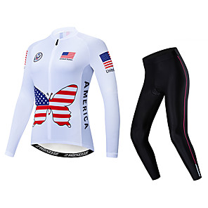 cheap Cycling Jersey & Shorts / Pants Sets-21Grams American / USA Women's Long Sleeve Cycling Jersey with Tights - White Bike Clothing Suit Thermal / Warm Breathable Quick Dry Sports Winter Fleece Polyester Elastane Mountain Bike MTB Road