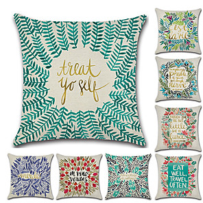 cheap Pillow Covers-8 pcs Linen Pillow Cover, Art Deco Floral Print Wedding Boho Throw Pillow