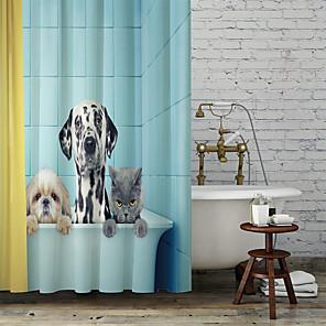 cheap Shower Curtains-Cartoon Cute Dog Shower Curtains & Hooks Classic Polyester Braided Waterproof