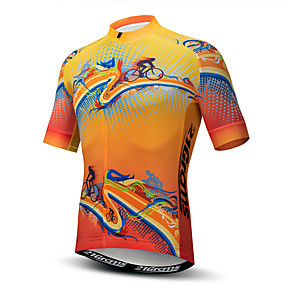 cheap Cycling Jerseys-21Grams Men's Short Sleeve Cycling Jersey Polyester Elastane Lycra Orange Novelty Bike Jersey Top Mountain Bike MTB Road Bike Cycling Breathable Quick Dry Moisture Wicking Sports Clothing Apparel