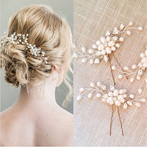cheap Jewelry Sets-Alloy Hair Stick / Hair Accessory with Pearls 2pcs Wedding / Special Occasion Headpiece