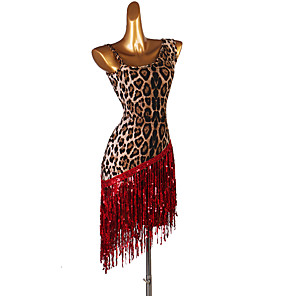 cheap Latin Dancewear-Latin Dance Dress Tassel Pattern / Print Women's Performance Sleeveless Spandex