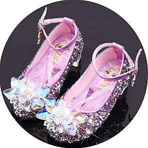 cheap Movie & TV Theme Costumes-Girls' Flower Girl Shoes Synthetics Flats Little Kids(4-7ys) / Big Kids(7years +) Crystal / Sequin / Buckle Purple / Blue / Pink Spring / Fall