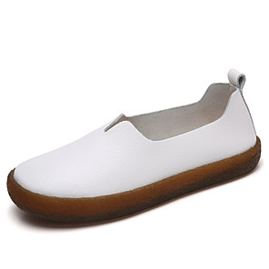 cheap Women's Heels-Women's Loafers & Slip-Ons Flat Heel Round Toe PU Sweet / Minimalism Walking Shoes Fall / Spring & Summer Blue / White / Brown