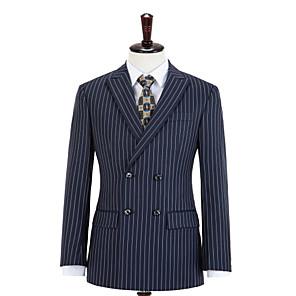 cheap Custom Tuxedo-Midnight Blue Stripe Double Breasted Wool Custom Suit