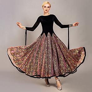 cheap Ballroom Dancewear-Ballroom Dance Dress Appliques Split Joint Women's Training Performance Long Sleeve Ice Silk
