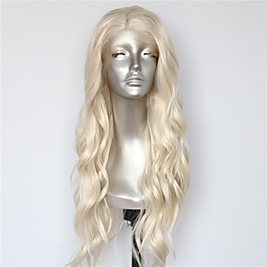 cheap Synthetic Lace Wigs-Synthetic Lace Front Wig Body Wave Bouncy Curl Middle Part Lace Front Wig Blonde Long Blonde Synthetic Hair 18-26 inch Women's Heat Resistant Synthetic Easy dressing Blonde / Natural Hairline