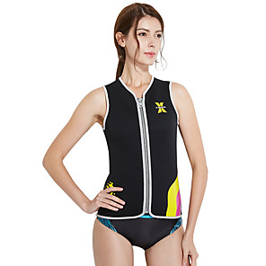 cheap Wetsuits, Diving Suits & Rash Guard Shirts-Dive&Sail Women's Rash Guard 2mm Spandex SCR Neoprene Sun Shirt UV Sun Protection Quick Dry Sleeveless Front Zip - Swimming Surfing Snorkeling Patchwork Summer / High Elasticity
