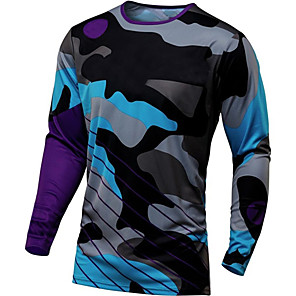 cheap Cycling Jerseys-21Grams Men's Long Sleeve Cycling Jersey Downhill Jersey Dirt Bike Jersey Winter Navy Pink Orange Camo / Camouflage Bike Jersey Top Mountain Bike MTB Road Bike Cycling Thermal / Warm UV Resistant