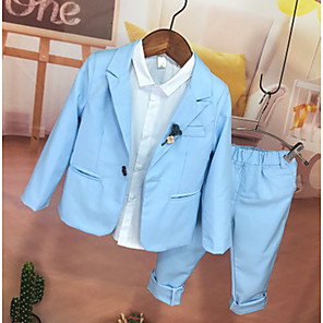 cheap Party Hats-Sky Blue Polyester Ring Bearer Suit - 1 Piece Includes  Coat / Shirt / Pants