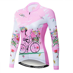 cheap Indoor Wall Lights-21Grams Floral Botanical Women's Long Sleeve Cycling Jersey - Pink Bike Jersey Top UV Resistant Breathable Moisture Wicking Sports Winter Fleece Polyester Elastane Mountain Bike MTB Road Bike Cycling