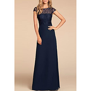 cheap Bridesmaid Dresses-A-Line Jewel Neck Floor Length Chiffon / Lace Bridesmaid Dress with Lace