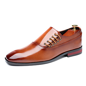 cheap Men's Oxfords-Men's Formal Shoes Leather Spring & Summer / Fall & Winter Business / Casual Oxfords Breathable Black / Wine / Yellow