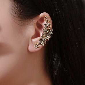 cheap Earrings-Women's Clip on Earring Ear Cuff Sculpture Flower Earrings Jewelry Gold / Silver For Prom Holiday Club Bar Festival