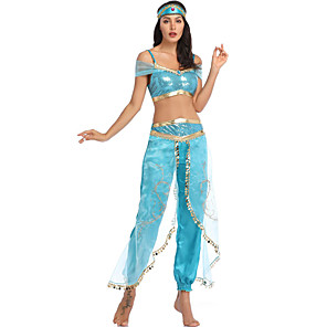 cheap Movie & TV Theme Costumes-Princess Jasmine Dress Headpiece Masquerade Women's Movie Cosplay Cosplay Halloween Blue Top Pants Headwear Halloween Carnival Masquerade Tulle Polyster