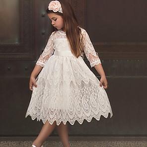 cheap Girls' Dresses-Toddler Girls' Color Block Half Sleeve Above Knee Dress White