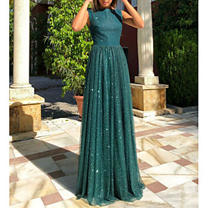 cheap Prom Dresses-A-Line Open Back Prom Dress Boat Neck Sleeveless Floor Length Tulle with Sequin 2020