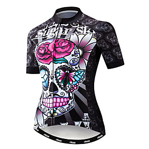 cheap Cycling Jerseys-21Grams Sugar Skull Women's Short Sleeve Cycling Jersey - Fuchsia Bike Jersey Top Breathable Moisture Wicking Quick Dry Sports Polyester Elastane Terylene Mountain Bike MTB Road Bike Cycling Clothing