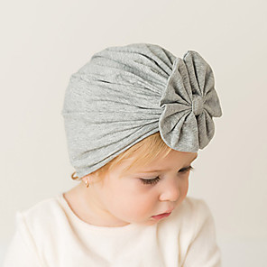 cheap Kids' Hats & Caps-Toddler / Infant Unisex Active / Sweet / Boho Solid Colored Bow Cotton Hats & Caps Black / White / Blushing Pink One-Size