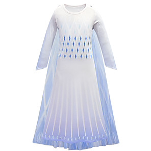 cheap Movie & TV Theme Costumes-Princess Elsa Dress Flower Girl Dress Girls' Movie Cosplay A-Line Slip Halloween Christmas White Dress Halloween / Bell Sleeve