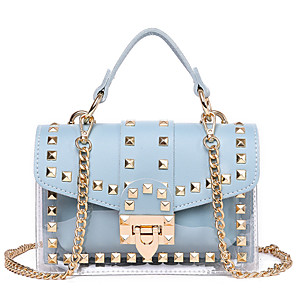 cheap Clutches & Evening Bags-Women's Rivet / Chain Polyester / PU Top Handle Bag Solid Color Black / White / Blushing Pink