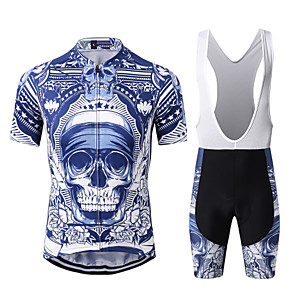cheap Triathlon Clothing-WECYCLE Men's Short Sleeve Cycling Jersey with Bib Shorts Winter Bule / Black Skull Bike Clothing Suit Breathable 3D Pad Quick Dry Warm Reflective Strips Sports Skull Mountain Bike MTB Road Bike