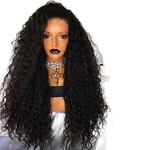 cheap Synthetic Lace Wigs-Synthetic Lace Front Wig Curly Free Part Lace Front Wig Long Black#1B Synthetic Hair 18-26 inch Women's Adjustable Heat Resistant Party Black