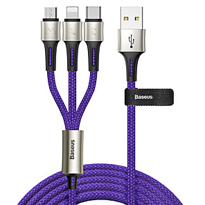 cheap Cell Phone Cables-Baseus caring touch selection 1-in-3 USB cable Black
