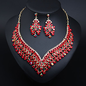 cheap Jewelry Sets-Women's Clear Blue Green AAA Cubic Zirconia Collar Necklace Chandelier Heart Fashion Elegant Earrings Jewelry Lake Blue / Light Green / Burgundy For Wedding Engagement Holiday 1 set
