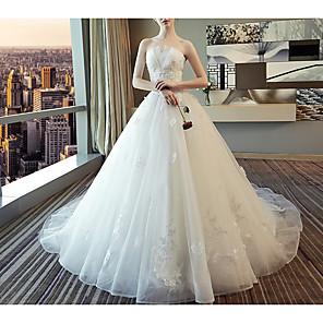 cheap Wedding Dresses-A-Line Wedding Dresses Strapless Court Train Polyester Strapless with Beading Appliques 2020