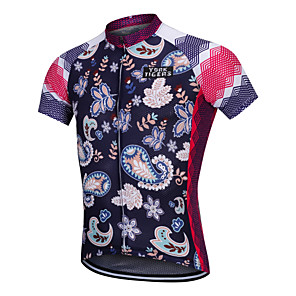 cheap Cycling Jerseys-YORK TIGERS Men's Short Sleeve Cycling Jersey Silicone Elastane Dark Blue Floral Botanical Bike Jersey Top Mountain Bike MTB Road Bike Cycling Breathable Quick Dry Reflective Strips Sports Clothing