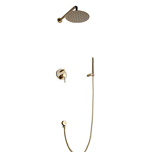 cheap Bathroom Sink Faucets-Shower Faucet - Contemporary Brushed Gold Wall Mounted Ceramic Valve Bath Shower Mixer Taps