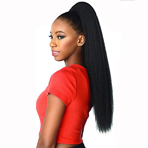 cheap Clip in Hair Extensions-Drawstring Ponytails Fashionable Design / Heat Resistant / Afro Ponytail Synthetic Hair Hair Piece Hair Extension Straight 22 inch Christmas / Christmas Gifts / Halloween