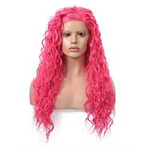 cheap Synthetic Trendy Wigs-Synthetic Lace Front Wig Curly Side Part Lace Front Wig Pink Long Pink Synthetic Hair 18-26 inch Women's Adjustable Heat Resistant Party Pink