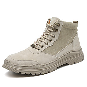 cheap Men's Boots-Men's Fashion Boots Pigskin Fall / Fall & Winter Casual Boots Walking Shoes Breathable Booties / Ankle Boots Beige / Khaki