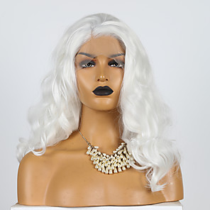 cheap Synthetic Lace Wigs-Synthetic Lace Front Wig Wavy Side Part Lace Front Wig Short White Synthetic Hair 10-16 inch Women's Cosplay Soft Adjustable White / Heat Resistant / Heat Resistant