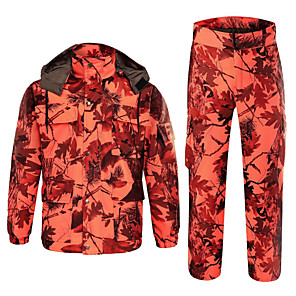 cheap Hunting Cameras-Men's Hunting Jacket with Pants Hunting Suit Outdoor Thermal / Warm Windproof Breathable Wear Resistance Autumn / Fall Spring Winter Camo / Camouflage Winter Jacket Clothing Suit Cotton Hunting