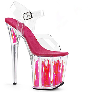 cheap Wedding Shoes-Women's Sandals Stiletto Heel Peep Toe PU British Spring & Summer Fuchsia / Wedding / Party & Evening