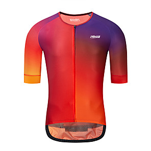 cheap Cycling Jerseys-21Grams Men's Short Sleeve Cycling Jersey Downhill Jersey Dirt Bike Jersey Red Green Blue Gradient Bike Jersey Top Mountain Bike MTB Road Bike Cycling UV Resistant Breathable Quick Dry Sports