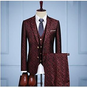 cheap Custom Tuxedo-Burgundy vintage jacquard Custom Suit