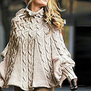 cheap Maxi Dresses-Women's Solid Colored Long Sleeve Loose Pullover Sweater Jumper, Turtleneck Khaki S / M / L
