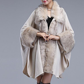 cheap Wedding Wraps-3/4 Length Sleeve Coats / Jackets / Capes Plush / Imitation Cashmere Wedding / Party / Evening Women's Wrap With Solid / Fur