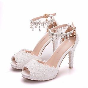 cheap Wedding Shoes-Women's Wedding Shoes Stiletto Heel Peep Toe PU Spring & Summer White