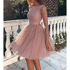 cheap Women's Boots-Women's Loose Dress - Long Sleeve Solid Colored Backless Mesh Spring Fall Elegant Sexy Cocktail Party Going out Birthday 2020 Blushing Pink S M L XL XXL
